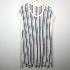 Free People blue and white stripe linen tank dress